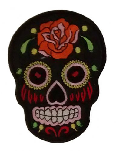Skull Iron / Sew On Embroidered Patch with Black Floral Pattern